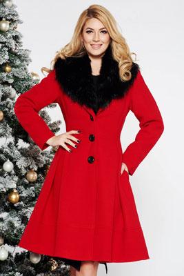 Palton LaDonna rosu elegant