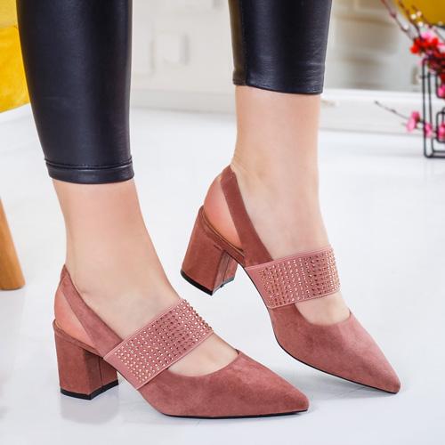 Pantofi Kisali roz cu toc Modlet