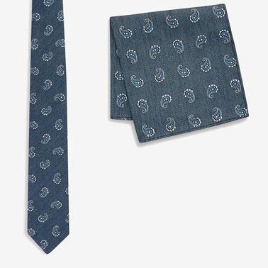 Set de cravata cu imprimeu paisley si batista decorativa